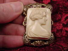 (CM45-10) UNUSUAL ART DECO Style LADY CAMEO Pin Pendant JEWELRY