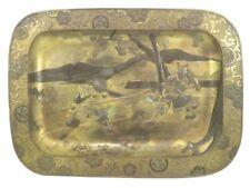 Antiguo tarde 19th Century japonés Estaño Bronce y Dorado Plateado Bandeja Samurai