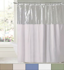 "Extra Long Bath Shower Curtain Clear Window Top 10 Gauge Vinyl 84"" x 72"""