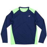 New Balance Mens Performance T-shirt Long Sleeve Athletic Tee Navy Blue S Nwt