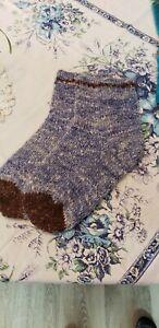 Large Hand Spun, Dyed, Knit Slipper Socks