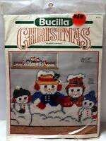 "VTG NIP Bucilla Christmas Snow Family Draftstop 8.5"" x 33.5"" #61113 Snowman"