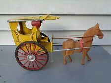 VINTAGE PHILIPPINES TIN TOY RICKSHAW W/CARVED WOOD HORSE