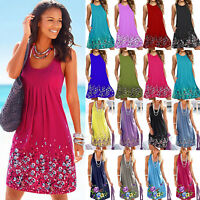 Women Boho Floral Sleeveless Summer Tunic Dress Casual Baggy Sundress Plus Size