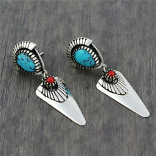 Vintage Bohemian 925 Silver Filled Women Turquoise/Ruby Stud Earrings Wedding