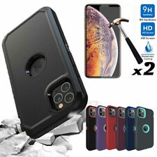 For iPhone 12 Pro/12/11 Pro Max Case Rugged Armor Phone Cover+Screen Protector