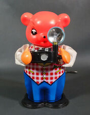 1960s Vintage China MS 575 Bear with Flash Camera Wind-Up Litho Tin Toy ~Works