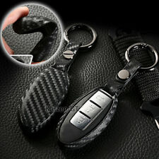 Carbon Fiber Style TPU Soft Smart Key Fob Cover For Nissan 370Z Altima Cube GT-R