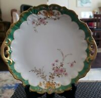 ANTIQUE CA 1875 REDON LIMOGES HAND PAINTED CAKE CABINET PLATE