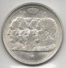 BELGIUM, 1954,  100 FRANCS, SILVER,  KM#138.1,  CHOICE BRILLIANT UNCIRCULATED
