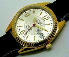citizen automatic men gold plated silver dial day/date vintage japan watch run d