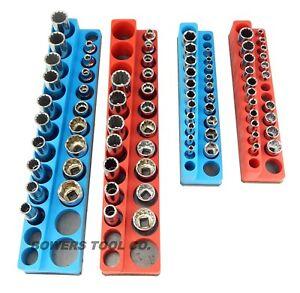 "Magnetic Socket Holder Set 4pc Mechanics Time Saver 3/8"" & 1/4"" Drive MTS"