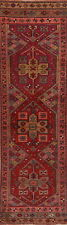 Vintage Geometric Oushak Turkish Oriental Runner Rug Wool Red Hand-Knotted 3x10