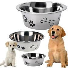 Dog Bowl Stainless Steel Metal Anti Skid Embossed Feed Station Paw Bone Design