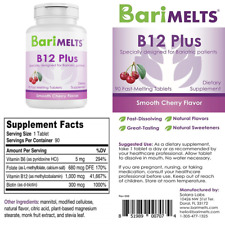 B12 Plus Dissolvable Bariatric Vitamins Natural Cherry Flavor 90 Fast Melting Ta
