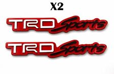 2xToyota TRD Sports 3D Car Trunk Side Fender Rear Emblem Badge Sticker Decal-Red