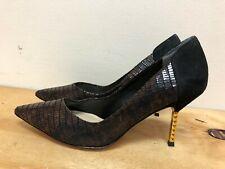J. Renee women leather & suede - black & brown with gold heel shoes size US 9M