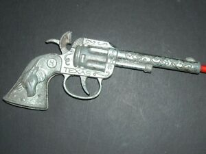 """Old 1950's Toy Gun / Cap ~ Branded Texas Circle H ~ Hubley ~ 6.5""""  x 2.5"""" Works!"""