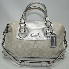 Coach Ashley Lurex Signature Silver Metallic Leather Trim Satchel Two Way 15804