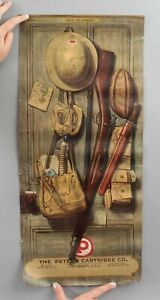 RARE Antique 1920 Peters Cartridge WWI Gear Ammunition Advertising Sign, NR