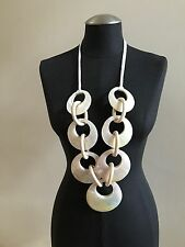 VIKTORIA HAYMAN Circular Shell Wood  Necklace