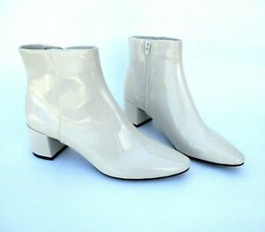 Marks & Spencer Stone Beige Patent Ankle Boots with Small Block Heel