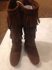 MINNETONKA Brown Suede, Knee High Fringe Boots, Size 8, Ex. Cond. FREE SHIPPING!