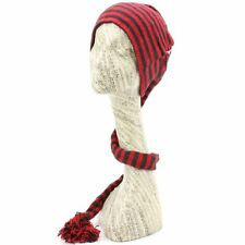 Hat Tail Knit Beanie Slouch Festival Cotton Hippy Striped Red Black Funky