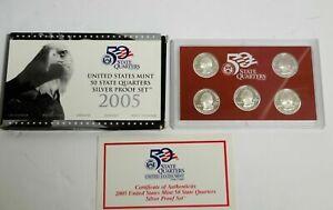 LOT SET of SILVER Proof Quarter Sets 2005 2006 2007 PROOF SILVER 25c