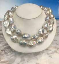 """2 Strands 20x40mm Freshwater Pearls. Gr Colors. Great Matches. Round.  34"""" Total"""