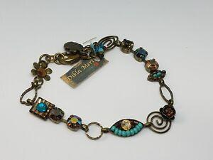 Dikla Meri Multicol Rhinestone Link Bracelet Flower , Evil Eye Made in Israel