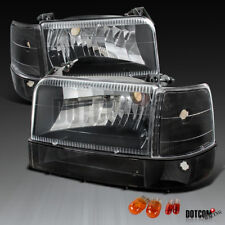 92-96 F150/250/350 Bronco Black Clear Headlights Bumper Corner Signal Lamps