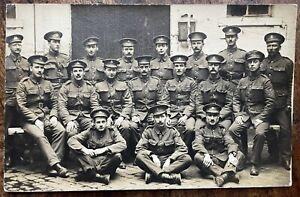 ANTIQUE WW1 GROUP PORTRAIT OF ROYAL ARMY PAY CORPS SERVICEMEN ROUEN FRANCE 1916