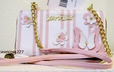 Betsey Johnson Wallet on String bag Pink White 3D Butterfly cross body NWT $75