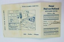 1930's HOLLAND HOTEL Paper Guide COLOGNE Germany Pamphlet MAP Ephemera Rare