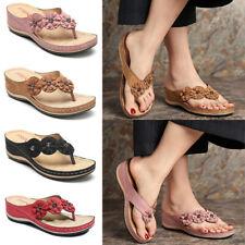 Ladies Low Wedge Heel Comfort Walking Fit Flip Flops Holiday Beach Sandals Shoe