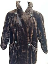 WOMEN'S SAKS FIFTH AVENUE FUR COAT Faux Mink Fully Lined SZ XXL Dark Brown Midi