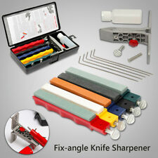 Professional Knife Sharpener Tools System Kitchen Fix-Angle Sharpening 5 Stones