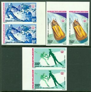 EDW1949SELL : BENIN 1976 Scott #C244-46 Olympics. Imperf pairs. Very Fine, MNH