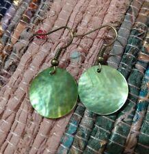 Beautiful boho natural shell earrings green bronze lightweight