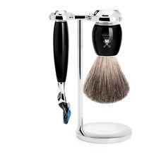 Muhle VIVO NERA IN RESINA 3 PEZZI GILLETTE FUSION Set da barba con pennello da barba