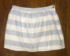 Cynthia Rowley Blue & White Stripe Linen Mini Skirt 12 Pockets Lines EUC