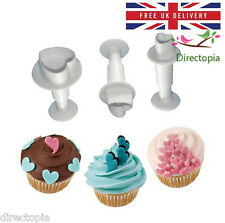 3 Piece Set Heart Fondant Cake Cookies Icing Decorating Tool Plunger Cutter