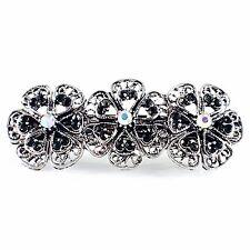 Small Flower Vintage BARRETTE Rhinestone Crystal Hair Clip Hairpin Black 3-14