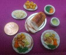 ROAST PORK DINNER FOR 2. 1:12TH SCALE DOLLHOUSE ARTISAN OOAK NEW