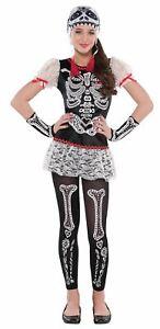 Girls Sassy Skeleton Fancy Dress Costume Sugar Skull Halloween Kids Outfit