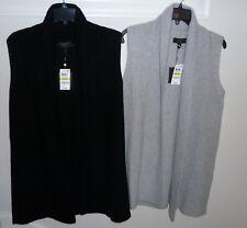 Charter Club 100% Cashmere Shaker Stitch Vest M Black or Ice Grey Heather $169