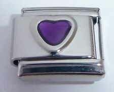 PURPLE LOVE HEART Italian Charm - February Birthstone fits Classic Bracelets 9mm