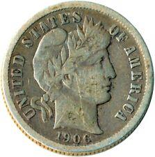 More details for 1906 d united states barber dime / silver / denver mint / vf #wt3672