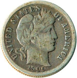 1906 D UNITED STATES BARBER DIME / SILVER / DENVER MINT / VF #WT3672